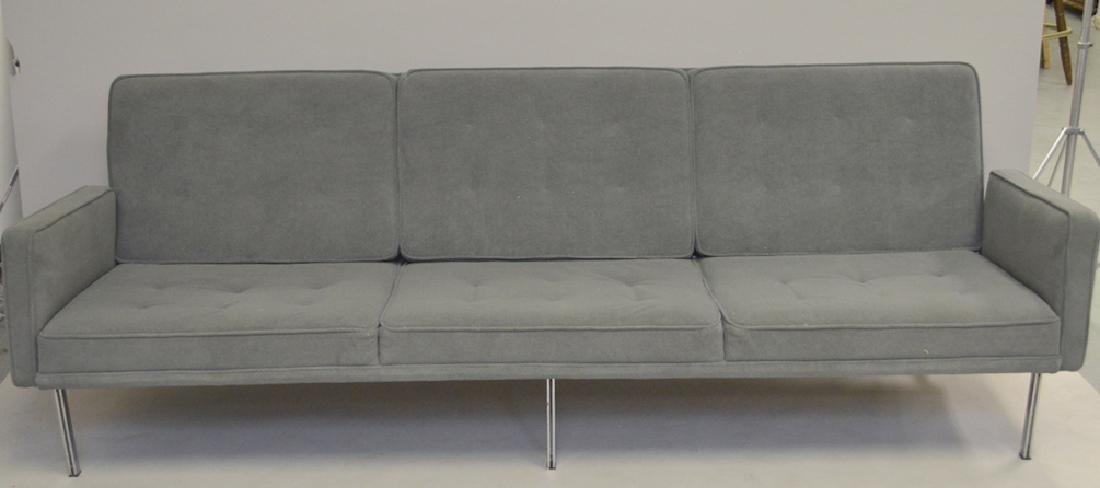 Grey modern sofa, 7' x 10h (floor to seat)