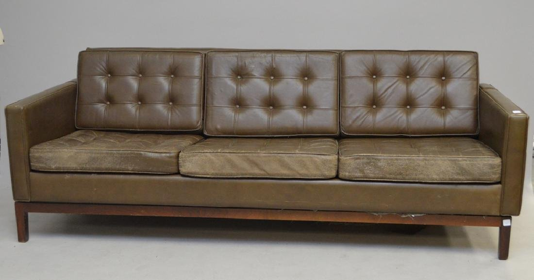 Florence Knoll leather sofa, c. 1950's, 3 seat with