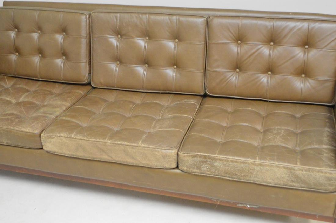 Florence Knoll leather sofa, c. 1950's, 3 seat with - 2