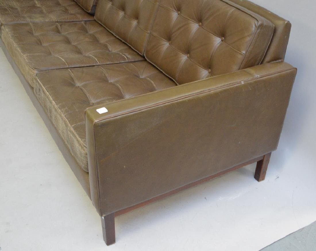 Florence Knoll leather sofa, c. 1950's, 3 seat with - 3