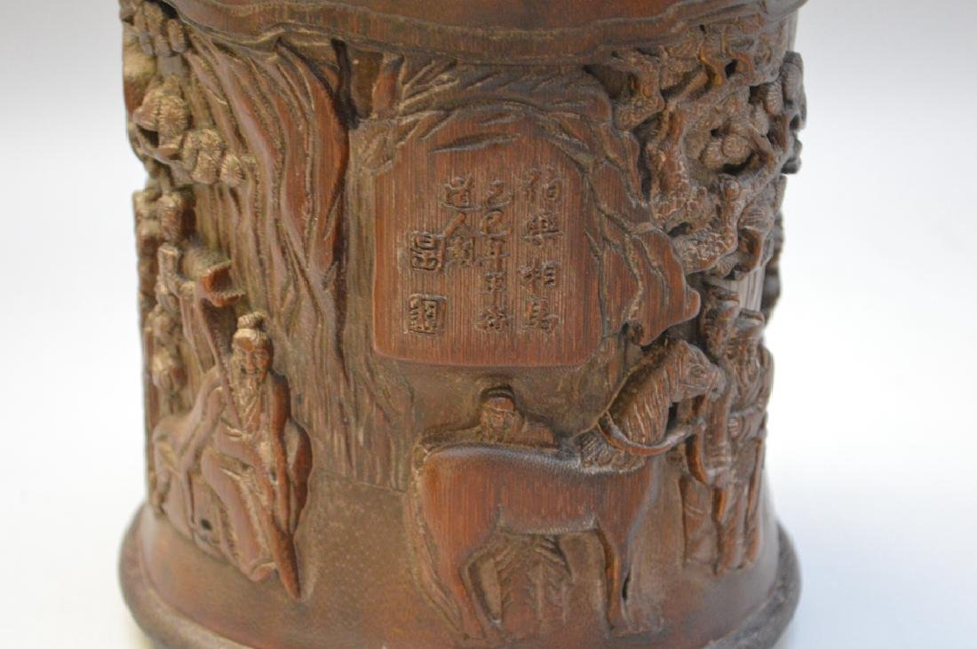 Carved Asian wood brush pot 7h x 6w - 2
