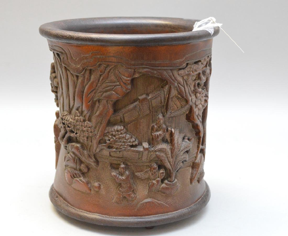Carved Asian wood brush pot 7h x 6w - 3
