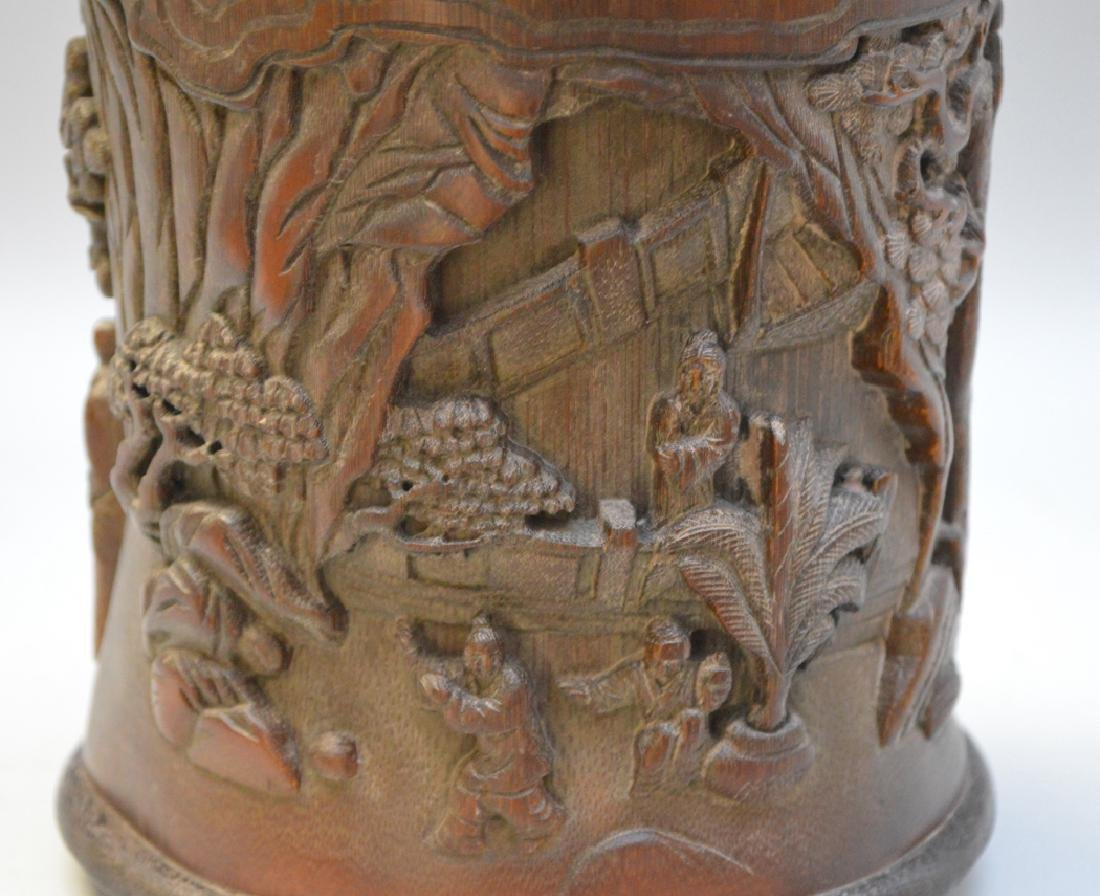 Carved Asian wood brush pot 7h x 6w - 4