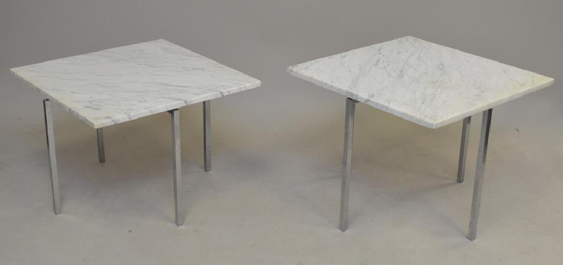2 Knoll steel and marble tables, one 1960's 17h x 24w x