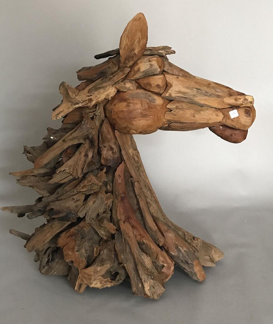 Driftwood horse sculpture, 37h x 36L x 14d