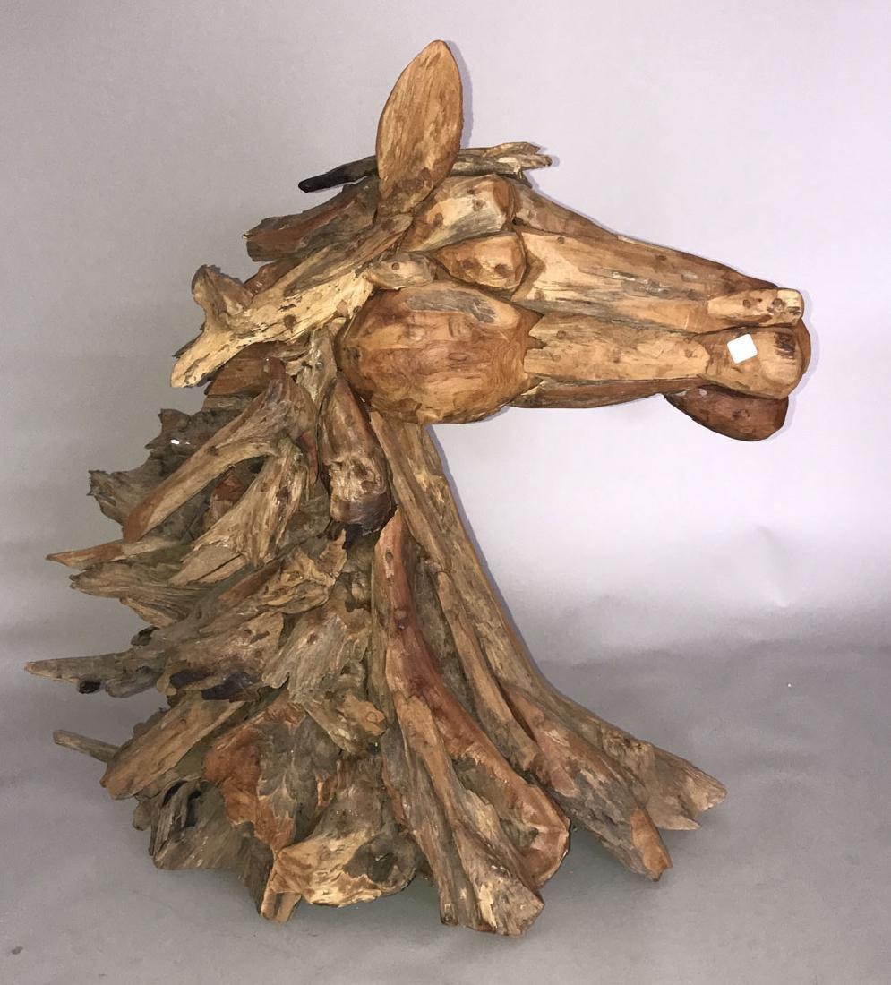 Driftwood horse sculpture, 37h x 36L x 14d - 2