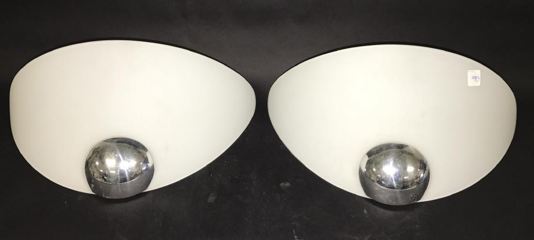2 Italian Flos glass & chrome sconces, c. 1970, 10 1/2h