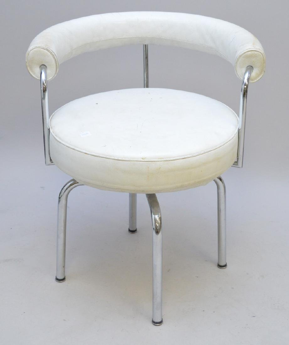 Vintage white leather & Chrome Vanity swivel chair