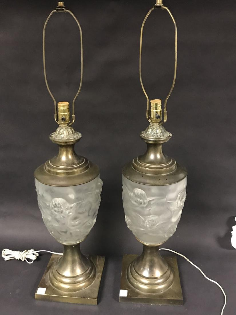 2 Lalique style glass & brass lamps, c. 1960