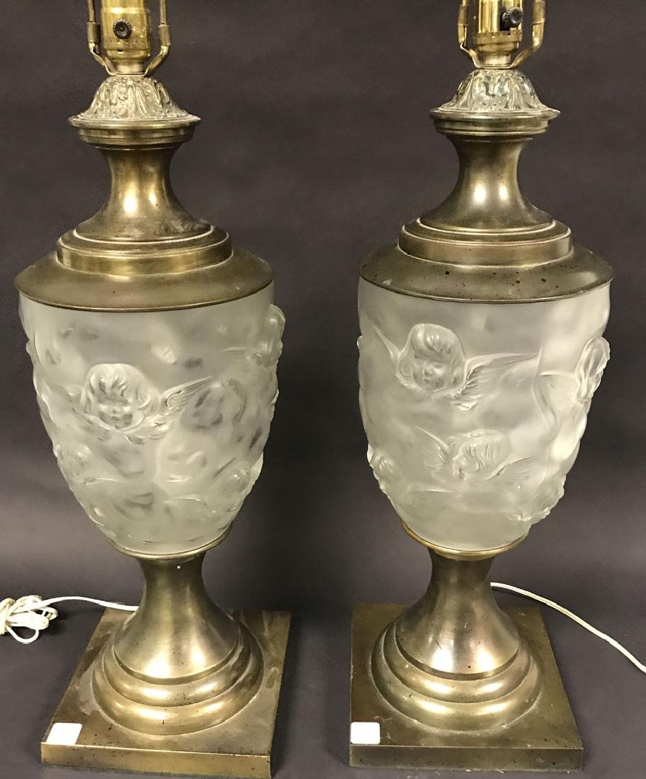 2 Lalique style glass & brass lamps, c. 1960 - 2