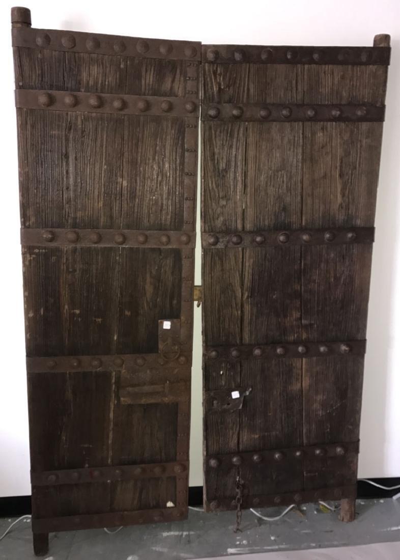 Pair primitive doors with original iron hardware, 76h x - 2