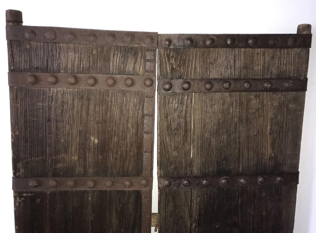 Pair primitive doors with original iron hardware, 76h x - 3