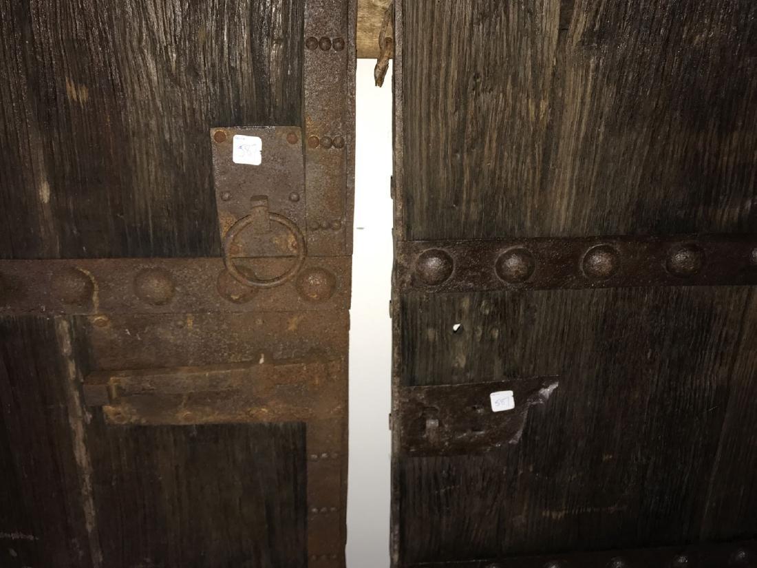 Pair primitive doors with original iron hardware, 76h x - 5