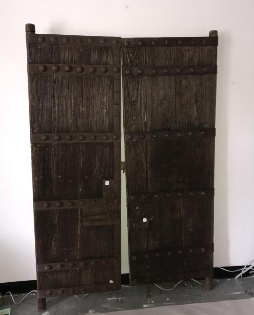 Pair primitive doors with original iron hardware, 76h x - 6