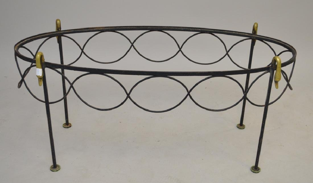French iron oval swan table, c. 1940's, 18h x 42w x 17