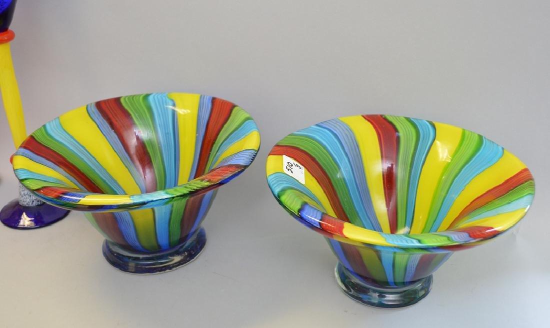 5 Pieces Murano Art Glass.  Tallest Ht. 13 (Swan) - 2