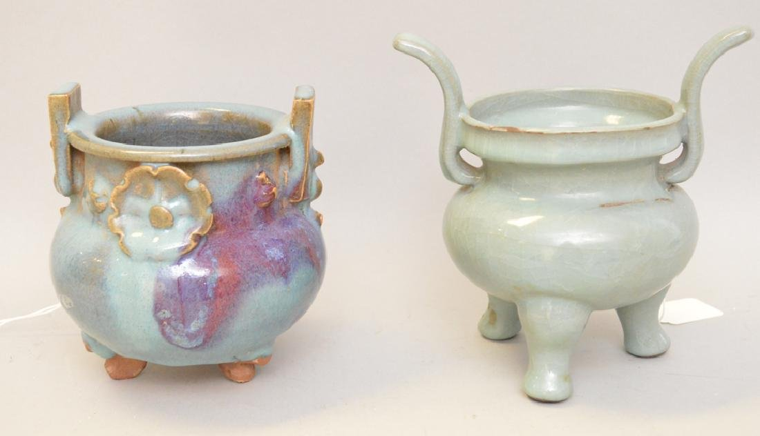 Two Chinese Articles.  1 Blue Glazed Terra Cotta Pot.