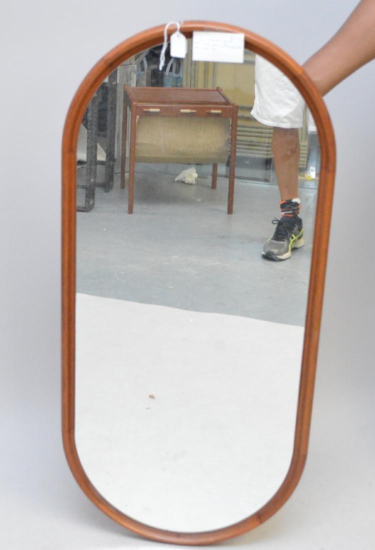Scandinavian modern oval mirror, c. 1960's, 42 1/2h x