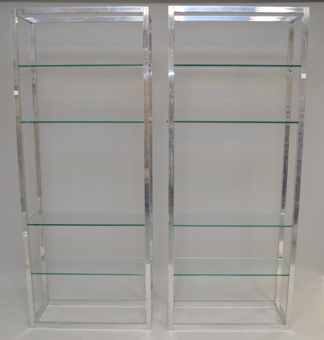 Pair chrome & glass 4 shelf etageres, circa 1970's, 80h