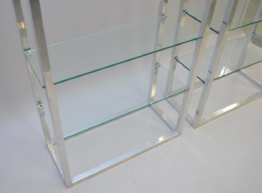 Pair chrome & glass 4 shelf etageres, circa 1970's, 80h - 2