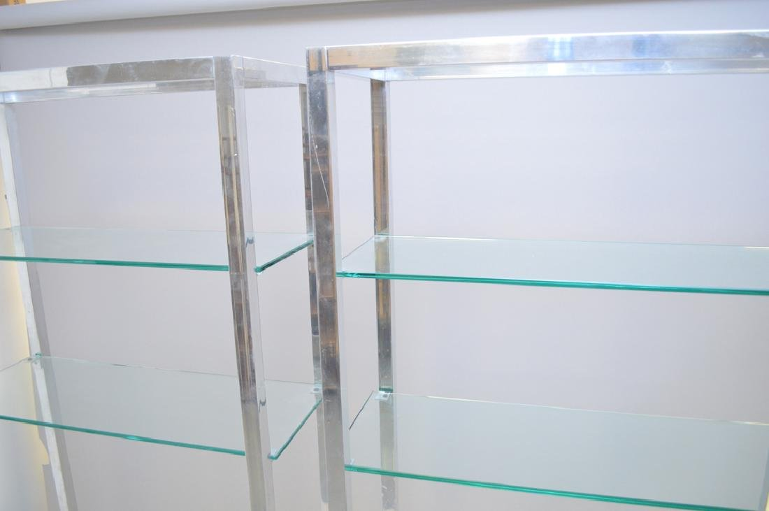 Pair chrome & glass 4 shelf etageres, circa 1970's, 80h - 3