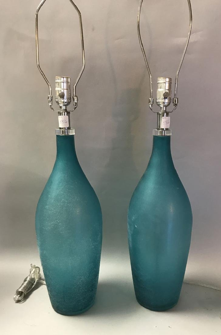 Murano Scavo teal glass lamps, Seguso style, 31h