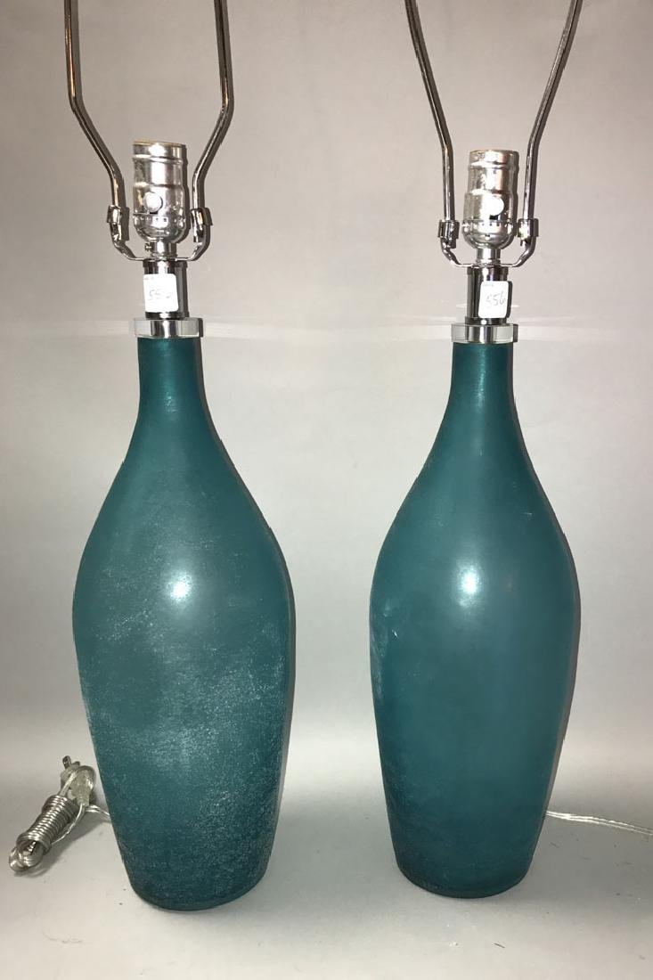 Murano Scavo teal glass lamps, Seguso style, 31h - 2