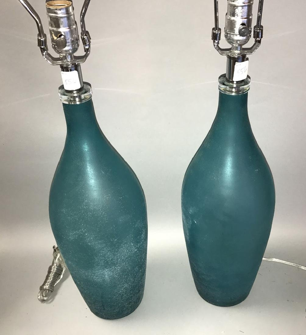 Murano Scavo teal glass lamps, Seguso style, 31h - 3