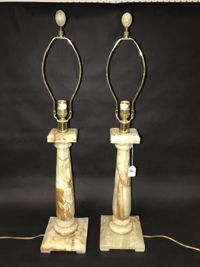 2 Hollywood Regency Architectural Onyx lamps, 35h x 7w