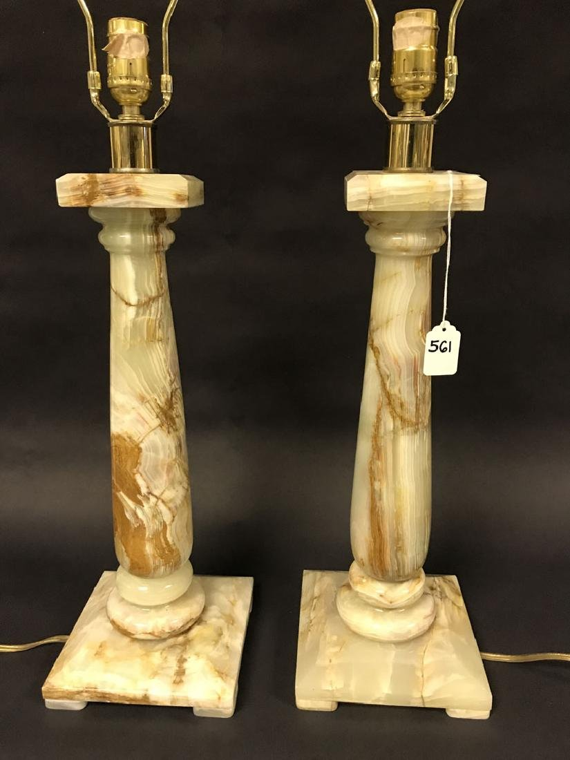 2 Hollywood Regency Architectural Onyx lamps, 35h x 7w - 2