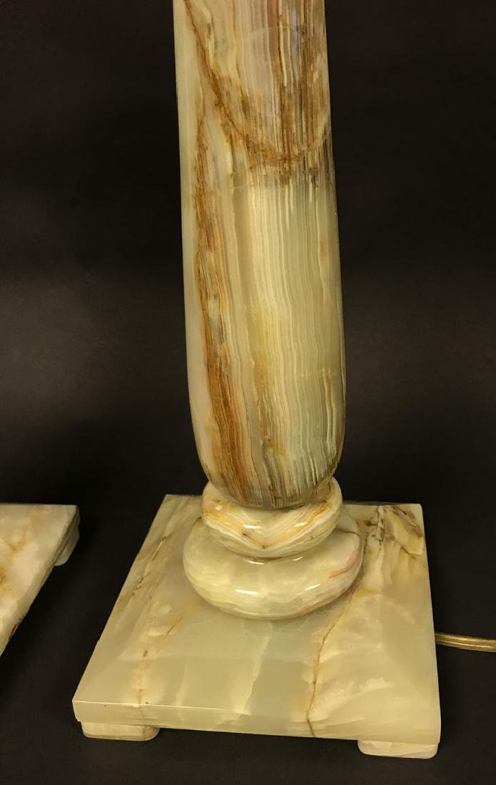2 Hollywood Regency Architectural Onyx lamps, 35h x 7w - 3