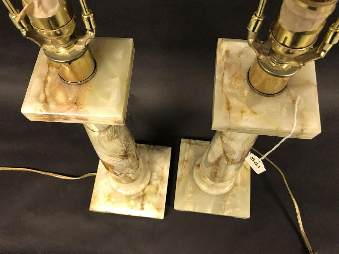 2 Hollywood Regency Architectural Onyx lamps, 35h x 7w - 6