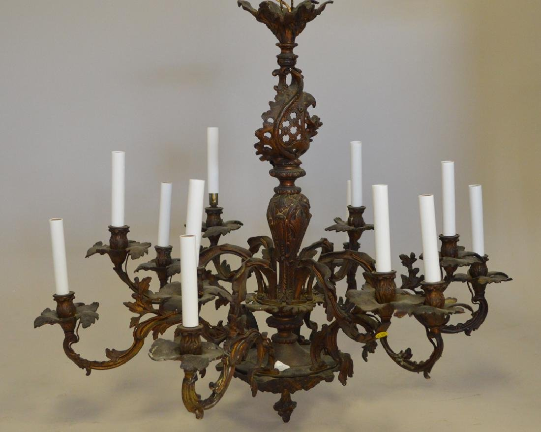 Louis XV French style bronze chandelier, 28h x 33w