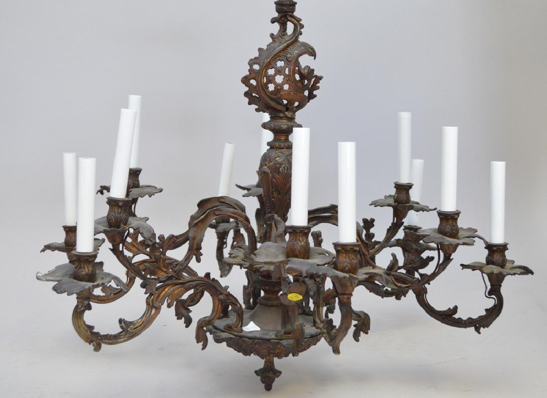 Louis XV French style bronze chandelier, 28h x 33w - 2