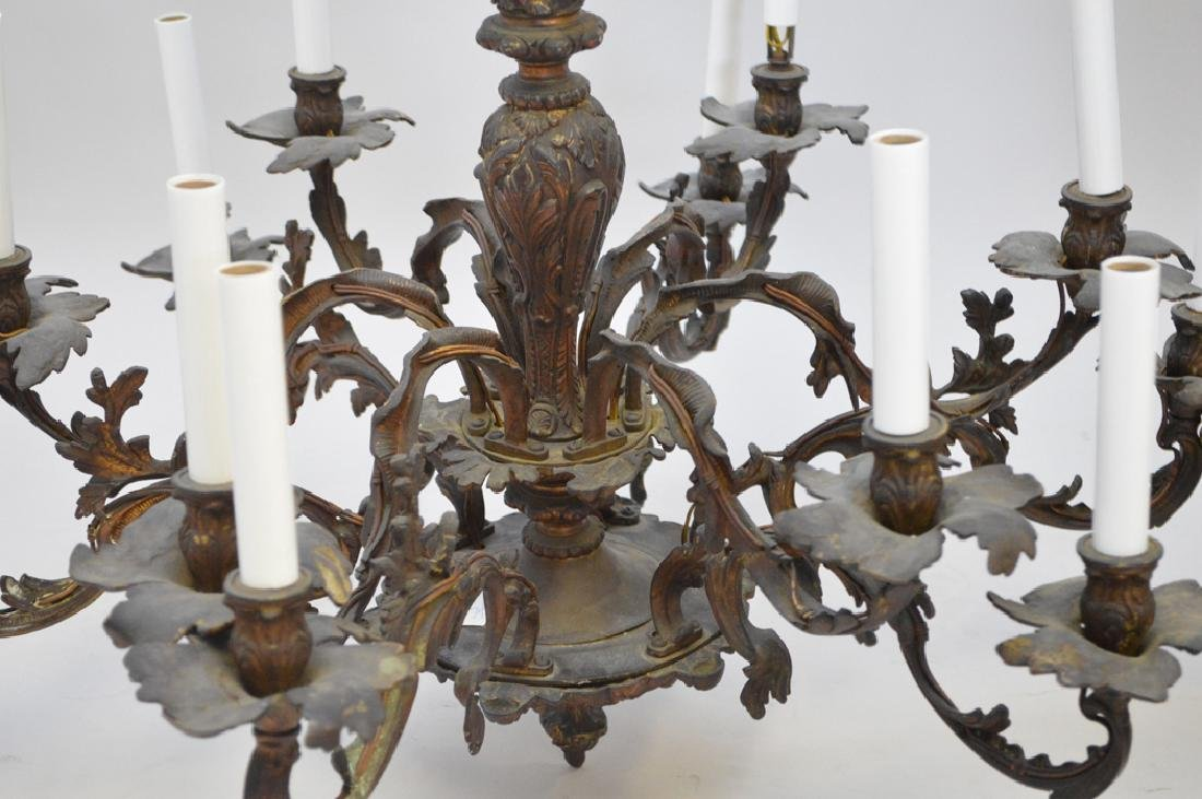 Louis XV French style bronze chandelier, 28h x 33w - 3