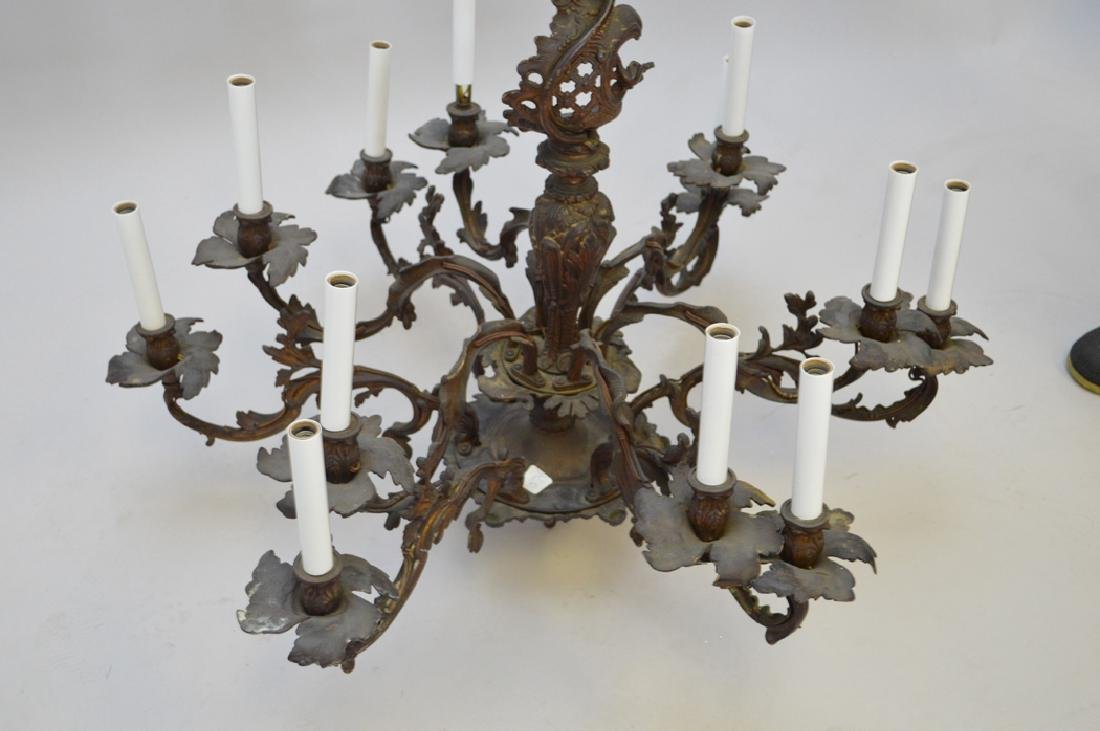 Louis XV French style bronze chandelier, 28h x 33w - 5