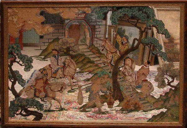 1001A: Decorative Mirror, Oriental horses and riders, 3