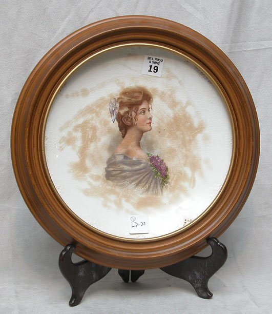 "1019: ""Vitreous"" portrait plate of lovely lady in round"