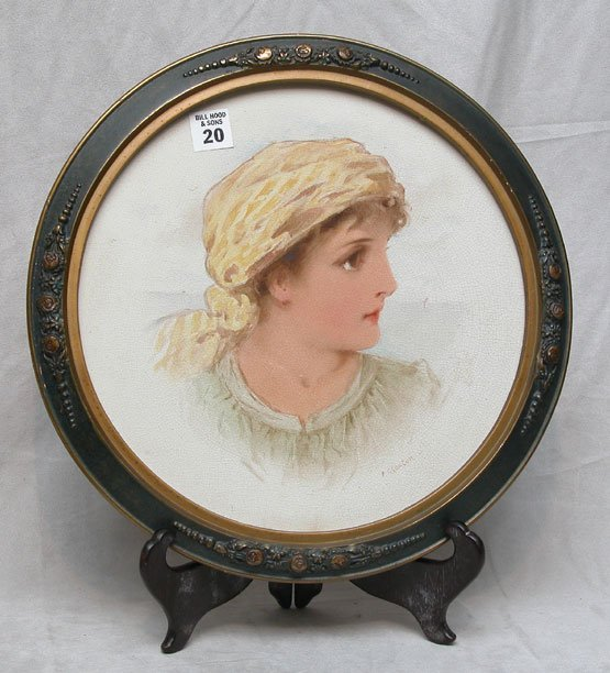"1020: Framed portrait plate of peasant girl, signed "" F"
