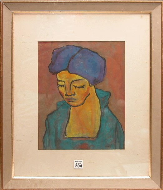 1204: Modern Painting of  woman signed Nolde Nalde