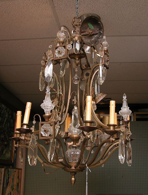 "1224A: Brass and crystal chandelier, huge 6"" & 7""h  pri"