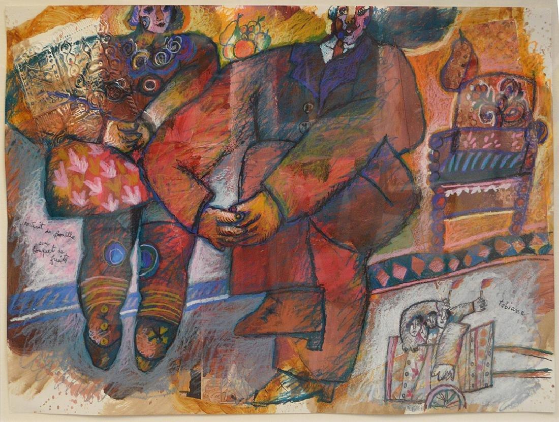 Théo Tobiasse (FRENCH, 1927-2012) mixed media, gouache,