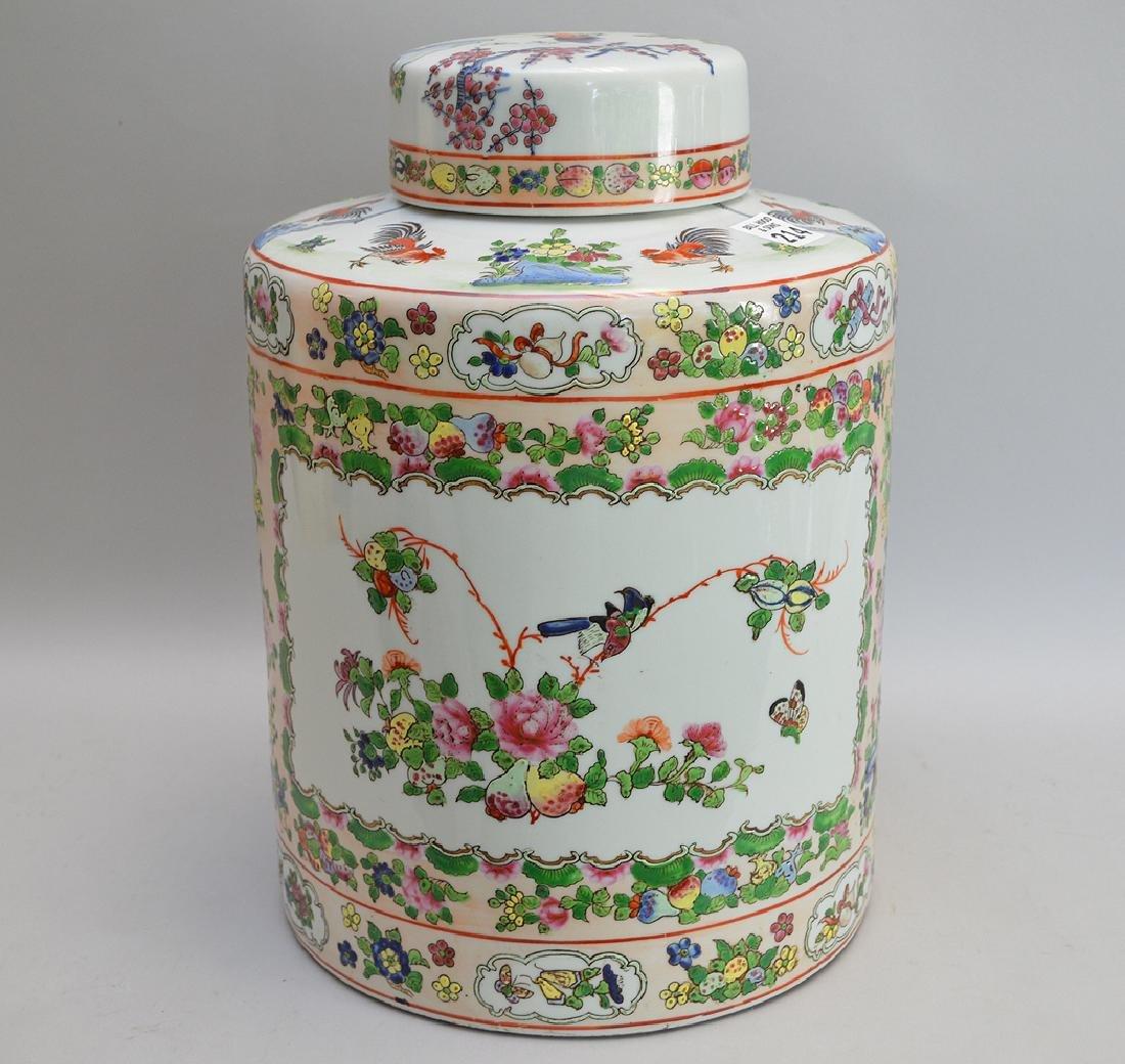 """Large famille verte ginger jar, 13"""""""