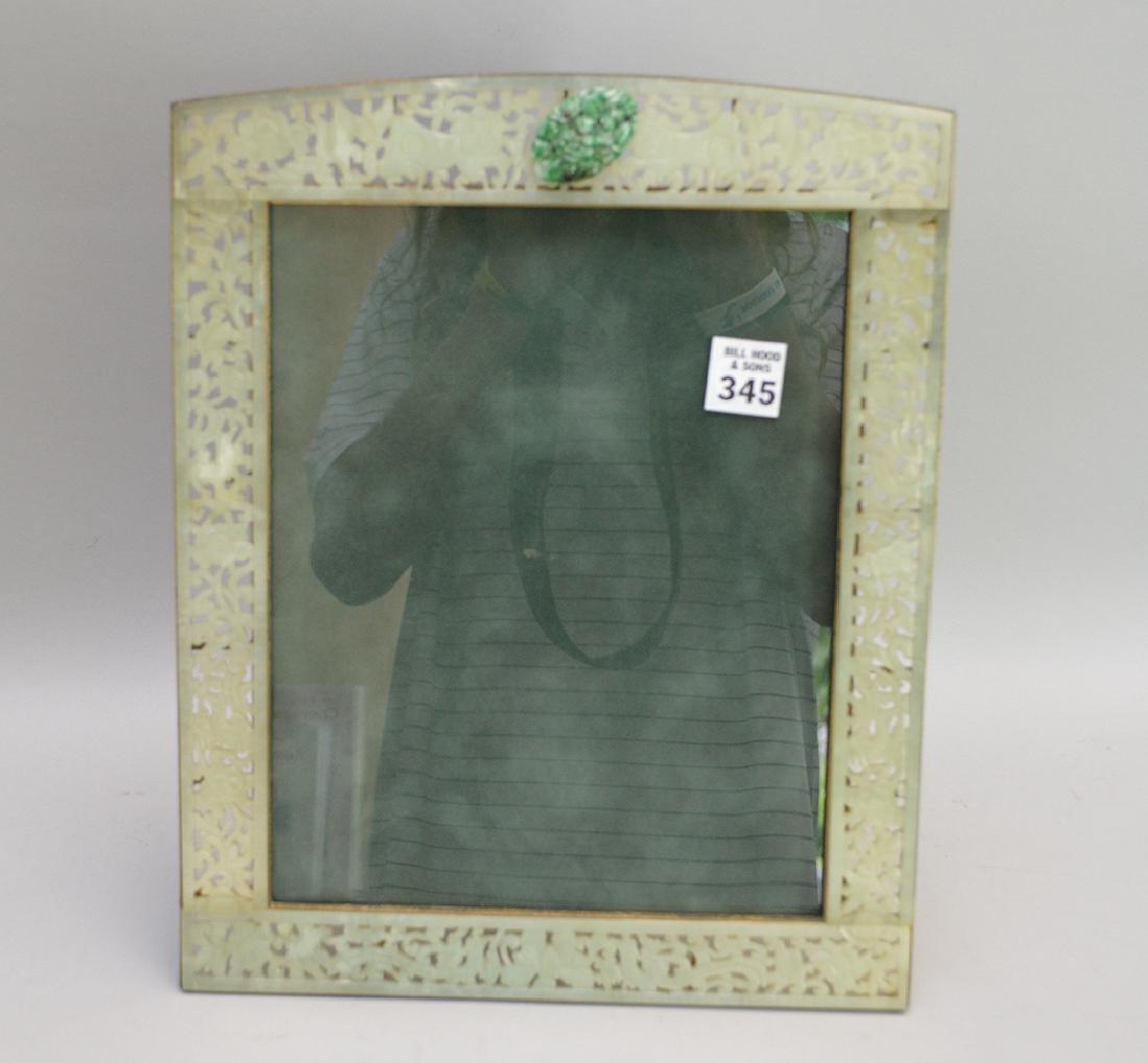 "Large jade frame, 13 1/4""h"