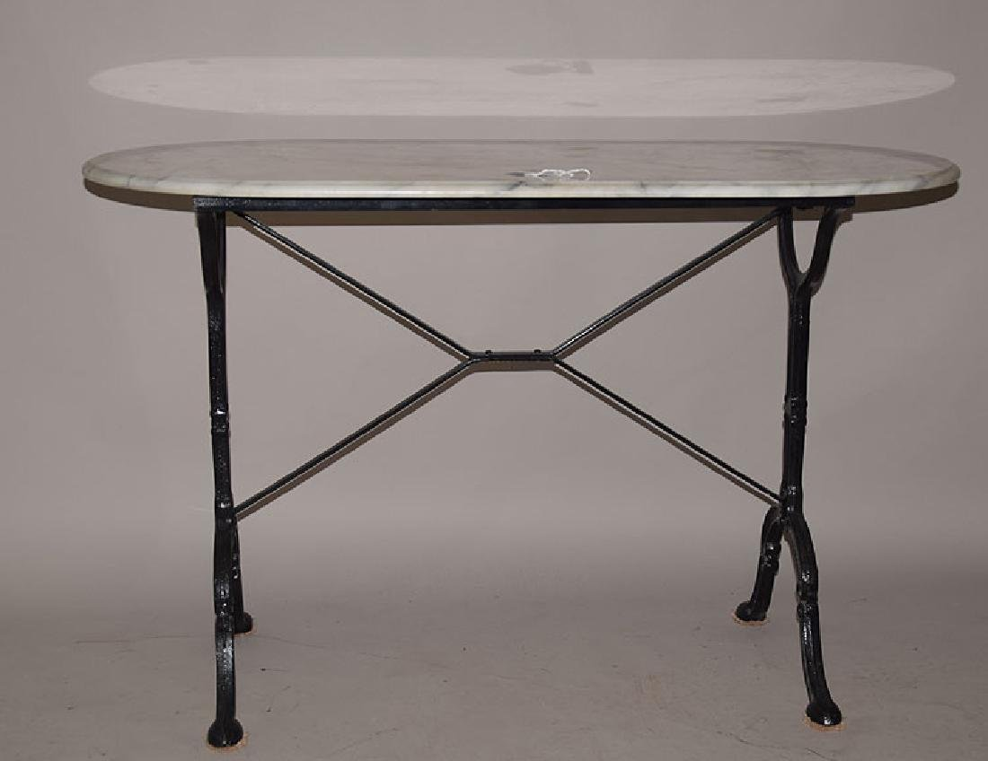 Pastry Table With Iron Base And Oval Marble Top, ...