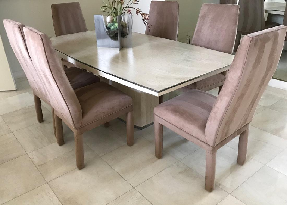 Willy Rizzo Travertine modern table with steel trim on