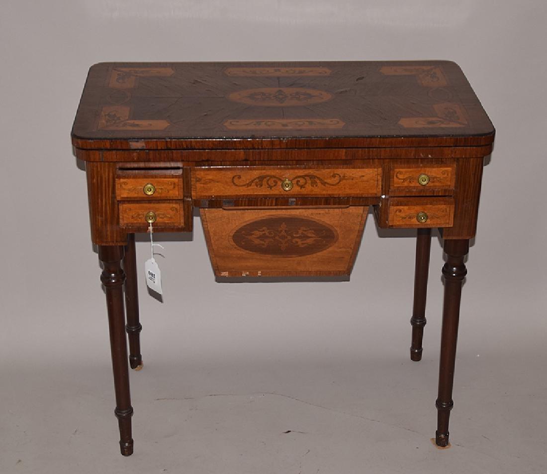 English mahogany marquetry games table, circa 1820-1840