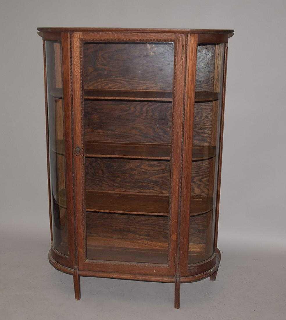 - Antique Oak Curio Cabinet With 3 Shelves, 58