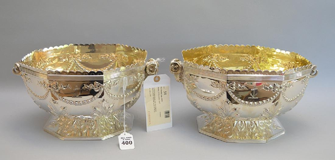 Pair English Victorian Sterling Rose Bowls with figural