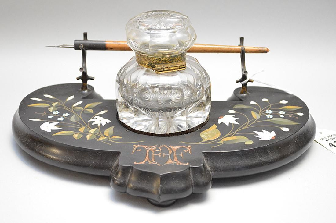 19th Century Pietra Dura Inkwell.  Condition:  Glass